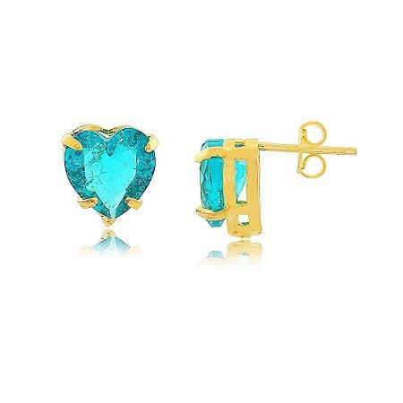 Brinco Coração de Pedra Fusion Azul SKY Folheado a Ouro 18K