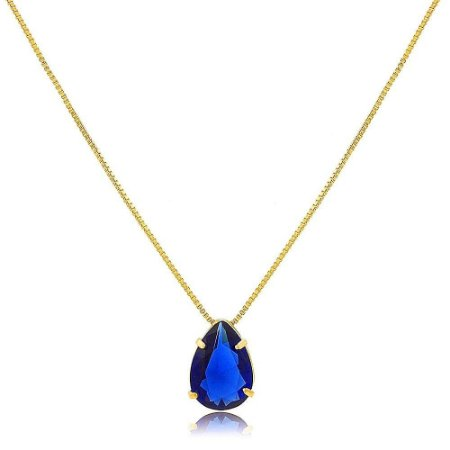 Colar de Gota De Zircônia Azul Montana Folheado a Ouro 18K