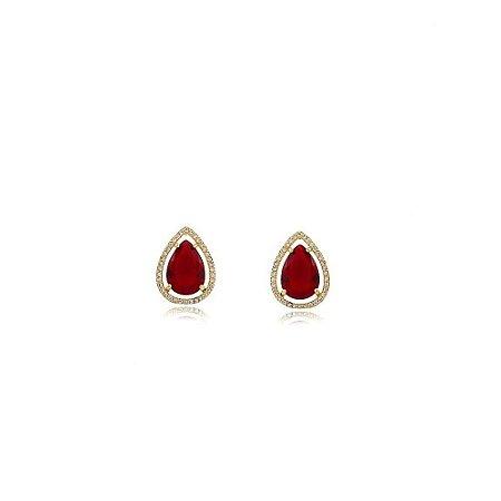 Brinco gota grande de pedra natural rubi cravejado de zircônias folheado a ouro 18k