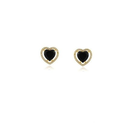 Brinco coração grande de pedra natural preta cravejado de zircônias folheado a ouro 18k