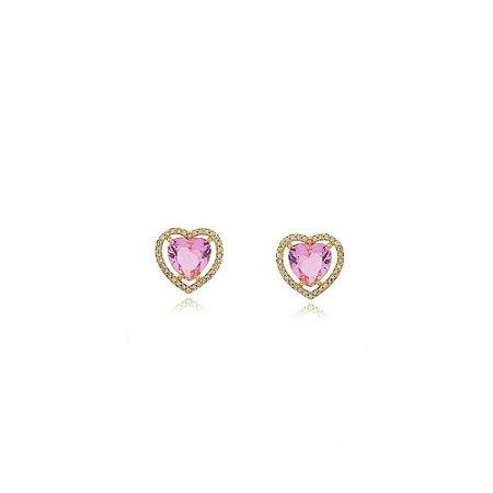 Brinco coração de Zircônia rosa cravejado de zircônias folheado a ouro 18k
