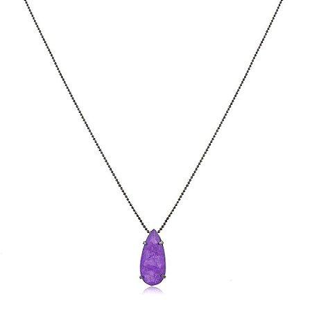 Colar gota alongada de pedra fusion premium ultra violeta folheado a ródio negro