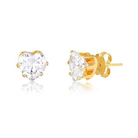 Brinco Mini Coração de Zircônia Cristal Folheado a Ouro 18k
