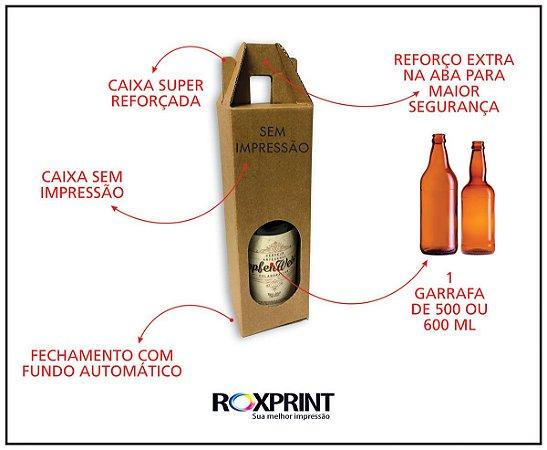 Kit com 100 Caixas para Cerveja Artesanal Modelo G1 para 1 Garrafa de 500 ou 600 ml