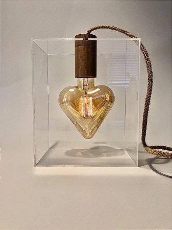 Luminária Coração Apertado (Fio corda)