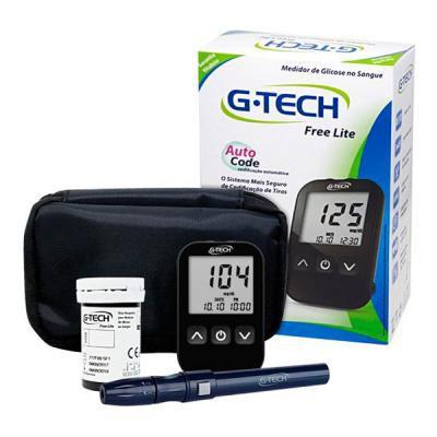 Glicosímetro +10 Tiras +10 Lancetas + 01caneta Free Lite - G-tech