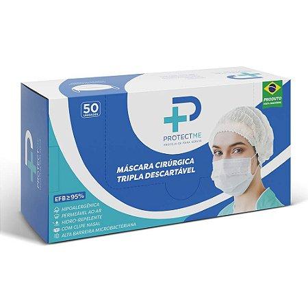 Máscara TNT tripla com elástico e clip nasal caixa c/ 50 und - Protectme