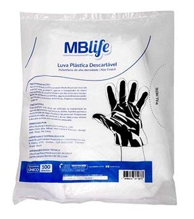 Luva plástica descartável não estéril pacote c/ 100 unidades - MBLife