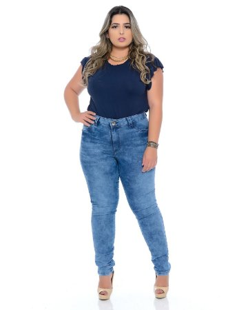 Calça Skinny Plus Size Marmorizada