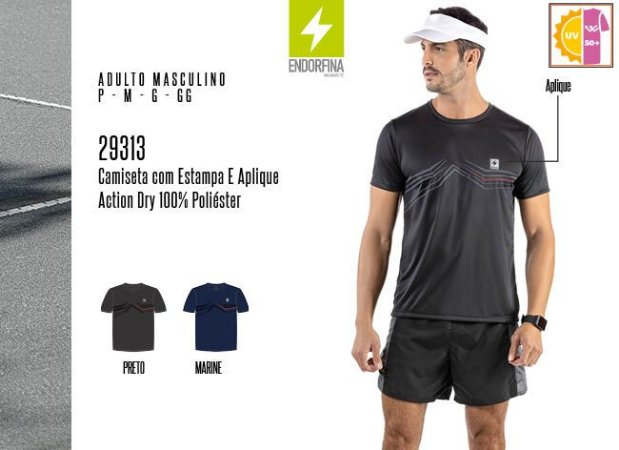 Camiseta Masculina Endorfina c/ Estampa e Aplique