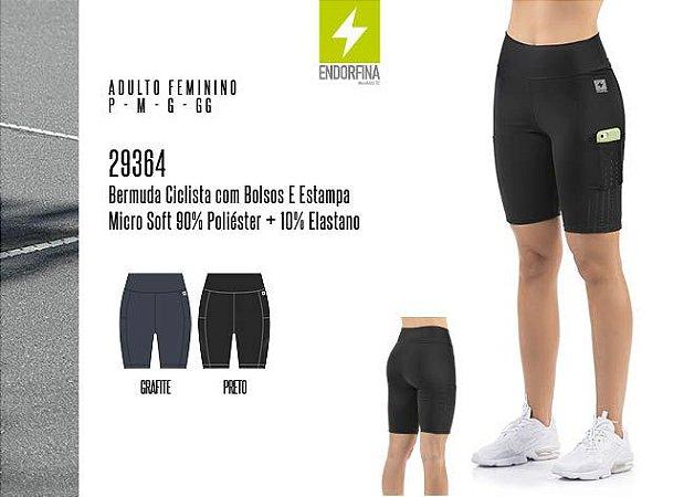 Bermuda Ciclista Feminina Endorfina c/ Bolsos e Estampa