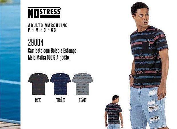 Camiseta Masculina No Stress c/ Bolsos e Estampa