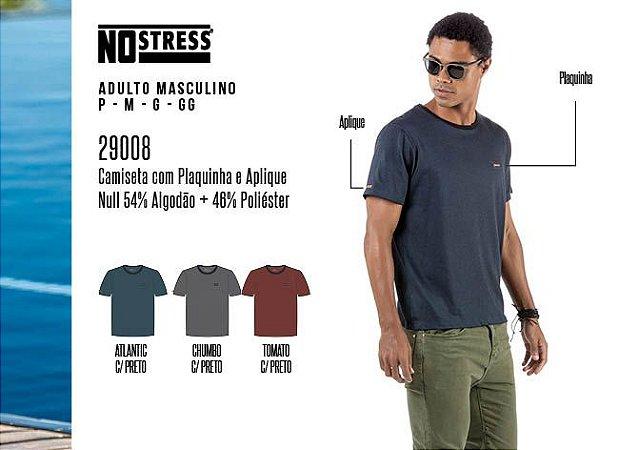 Camiseta Masculina No Stress c/ Plaquinha e Aplique