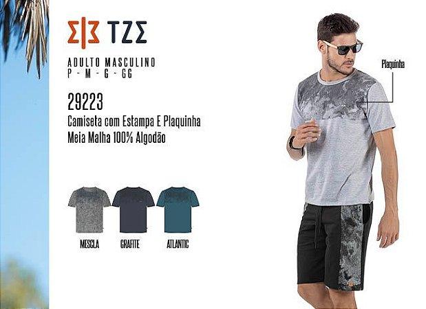 Camiseta Masculina TZE c/ Estampa e Plaquinha