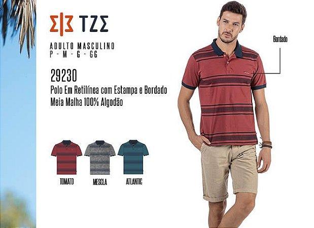 Camisa Polo em Retilínea Masculina TZE c/ Estampa e Bordado
