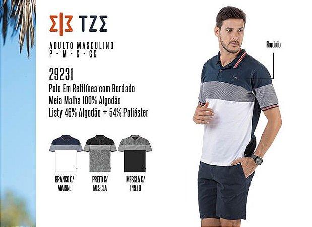 Camisa Polo em Retilínea Masculina TZE c/ Bordado