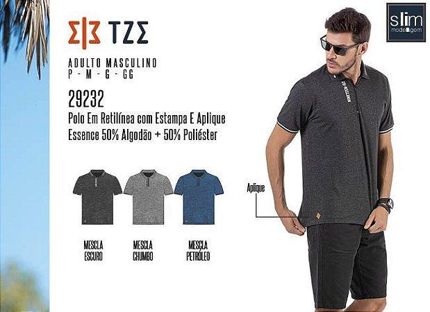 Camisa Polo em Retilínea Masculina TZE c/ Estampa e Aplique