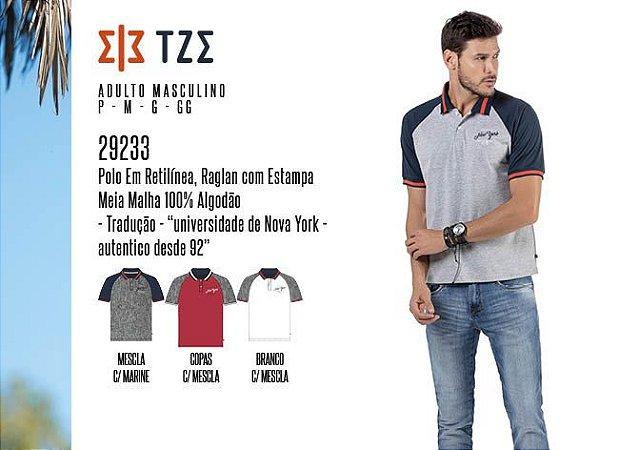 Camisa Polo em Retilínea, Raglan Masculina TZE c/ Estampa