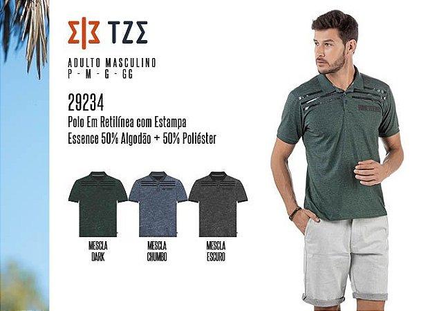 Camisa Polo em Retilínea Masculina TZE c/ Estampa