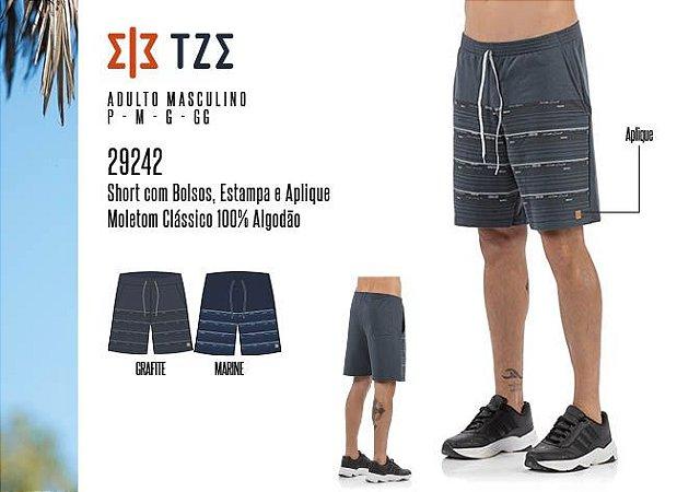 Short Masculino TZE c/ Bolsos, Estampa e Aplique