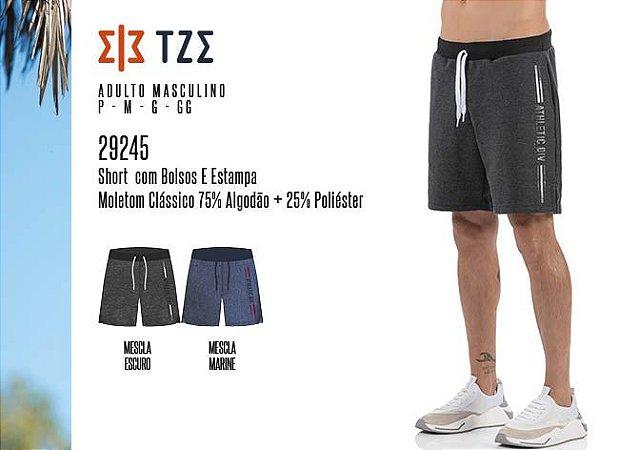 Short Masculino TZE c/ Bolsos e Estampa