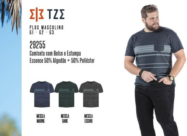 Camiseta Masculina TZE Plus c/ Bolso e Estampa
