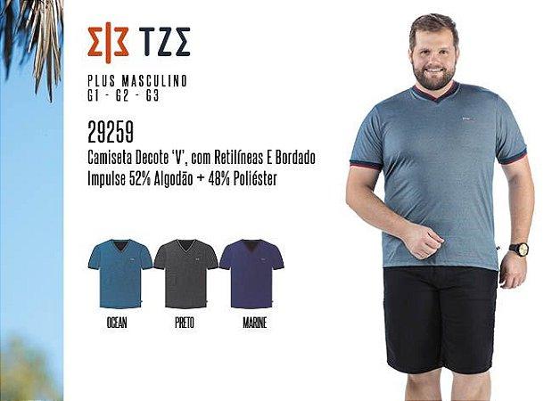 Camiseta Masculina TZE Plus c/ Decote 'V', Retilíneas e Bordado