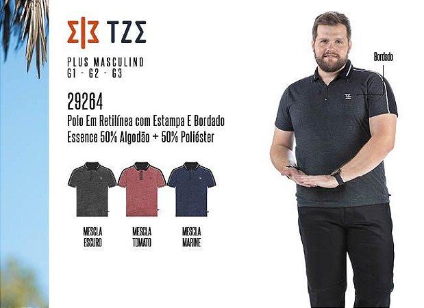 Camisa Polo em Retilínea Masculina TZE Plus c/ Estampa e Bordado