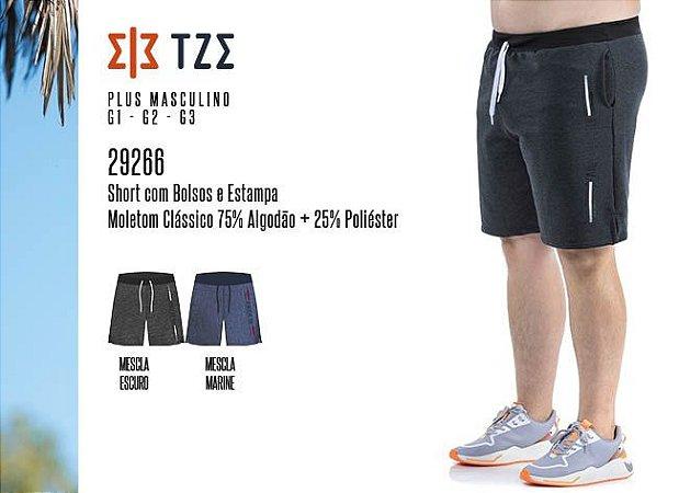 Short Masculino TZE Plus c/ Bolsos e Estampa