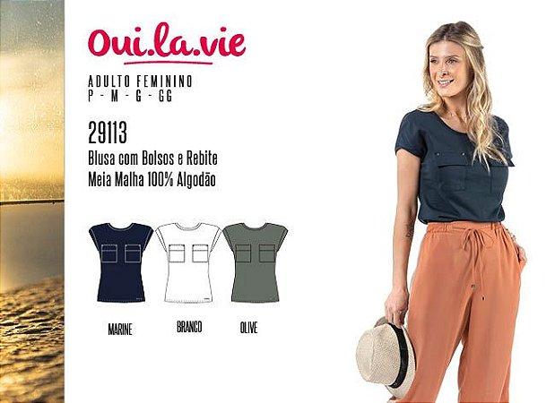 Blusa Feminina Oui.la.vie c/ Bolsos e Rebite