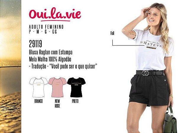 Blusa Raglan Feminina Oui.la.vie c/ Estampa