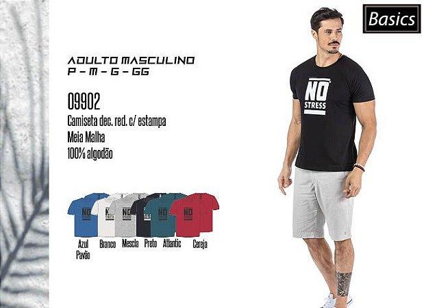 Camiseta Masculina Basic dec. Red. c/ Estampa