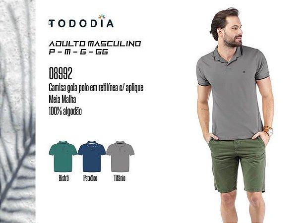 Camisa Masculina Tododia Gola Pola em Retilínea c/ Aplique