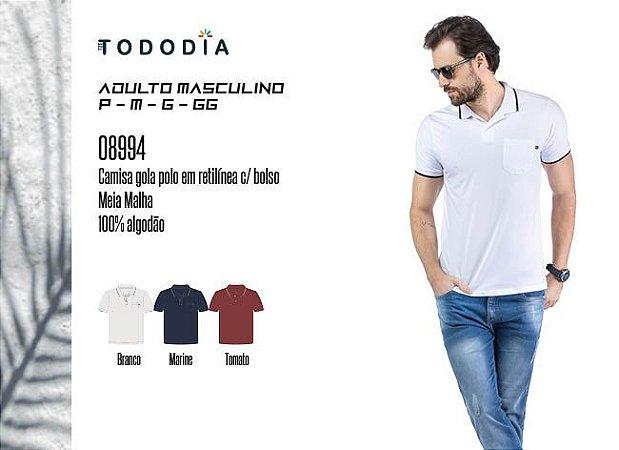 Camisa Masculina Tododia Gola Pola em Retilínea c/ Bolso
