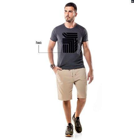 Camiseta Estampa Flocada Geométrico No Stress