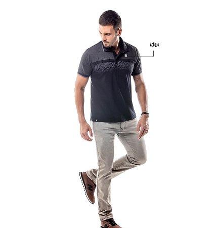 Camisa Polo Estampa Reticulada No Stress