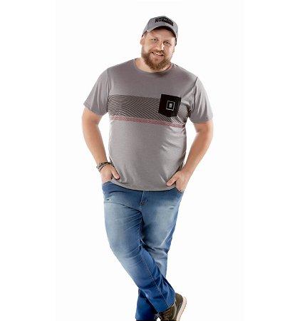 Camiseta Estampa Listras e Bolso Plus No Stress