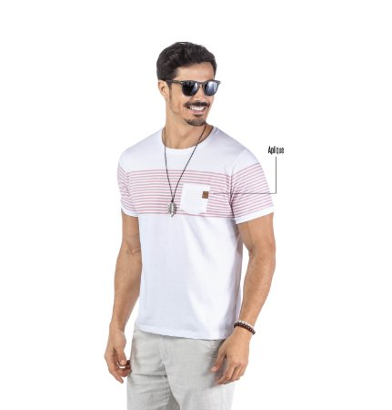 Camiseta Estampa Listras Bolso No Stress