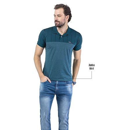Camisa Polo Recorte Listras Estampadas TZE