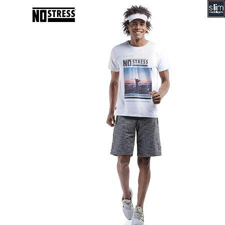 Camiseta Slim com Estampa No Stress