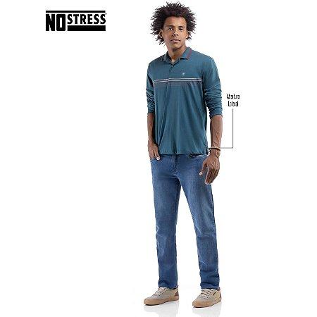 Camisa Polo Manga Longa com Estampa No Stress