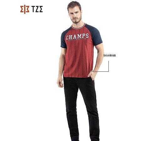 Camiseta Raglan Listras e Retilínea TZE