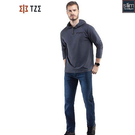 Camiseta Manga Longa com Ziper e Capuz TZE