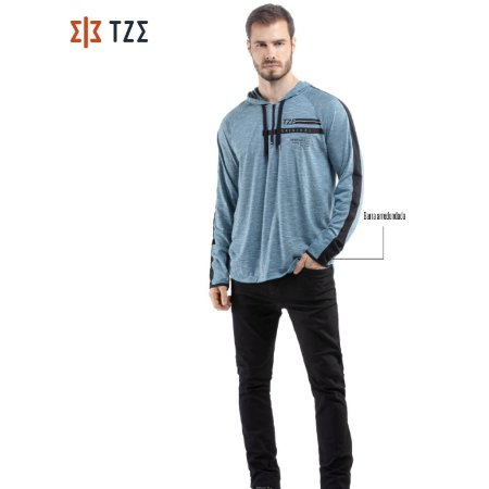 Camiseta Manga Longa com Ziper, Recorte e Capuz TZE