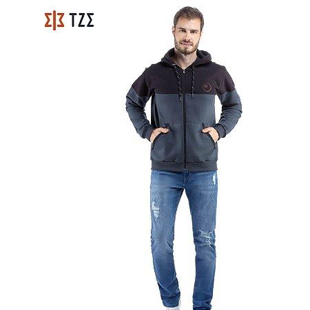 Jaqueta de Moletom com Recortes e Capuz TZE