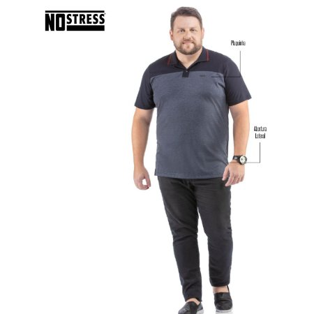 Camisa Polo com Recorte No Stress Plus