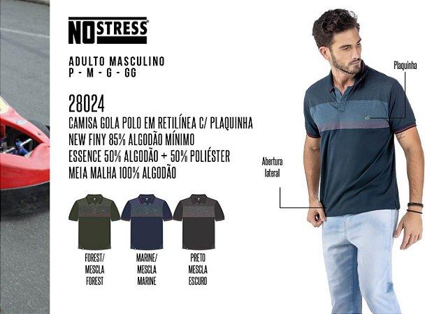 Camisa Gola Polo em Retilínea Masculina No Stress c/ Plaquinha
