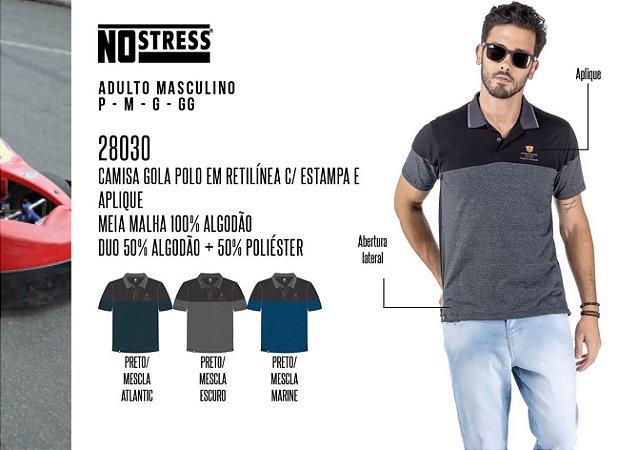 Camisa Gola Polo em Retilínea Masculina No Stress c/ Estampa e Aplique