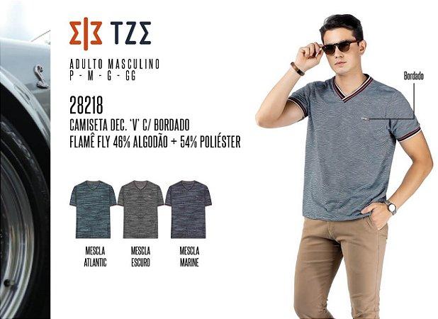 Camiseta Dec. 'V' Masculina TZE c/ Bordado
