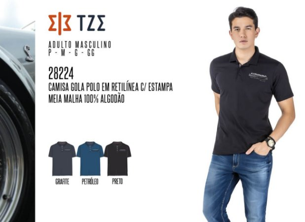 Camisa Gola Polo em Retilínea Masculina TZE c/ Estampa